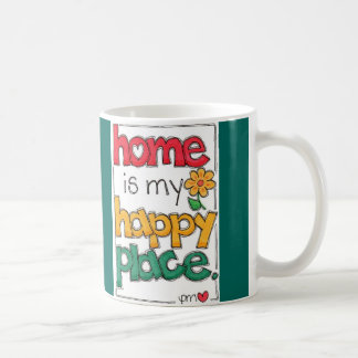Home Is My Happy Place Cute Handlettered White Mug