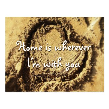 "Beach Themed ""Home is"" quote heart drawn in sand photo postcard"