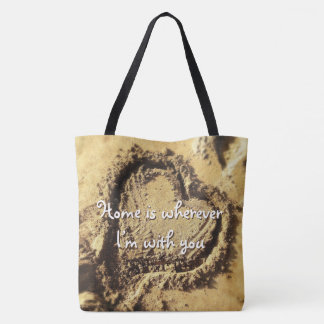 """""""Home is"""" quote heart drawn in sand photo tote bag"""