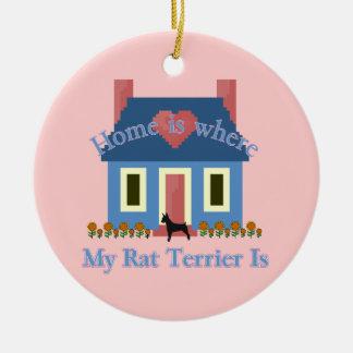 Home Is Rat Terrier Ceramic Ornament