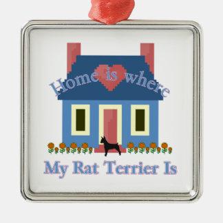 Home Is Rat Terrier Metal Ornament