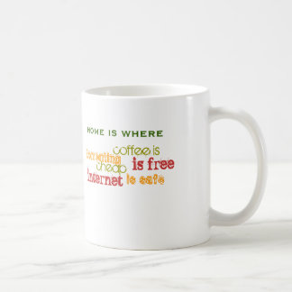 Home is where internet is free classic white coffee mug
