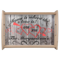Home is Where Love is Barnwood Grain Family Name Serving Tray