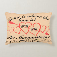 Home is Where Love is Family Name & Lover Initials Accent Pillow