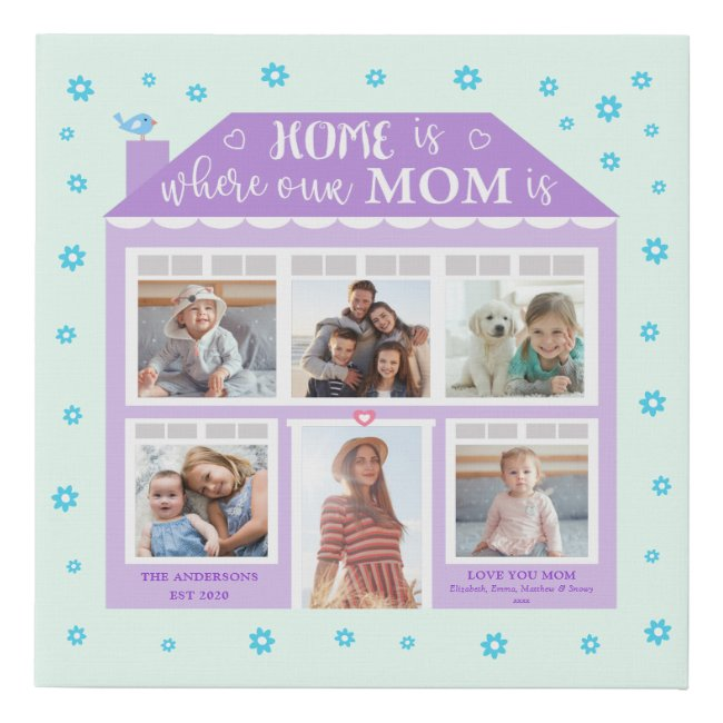 Home Is Where Mom Is Photo House Purple Mint Faux Canvas Print