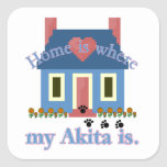 Home is Where My Akita Is Square Stickers