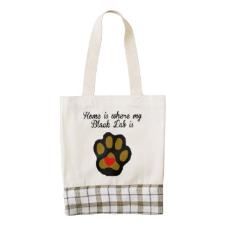 Home Is Where My Black Lab Is Zazzle HEART Tote Bag