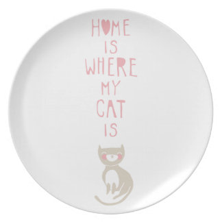 """""""Home is where my cat is"""" Dinner Plates"""