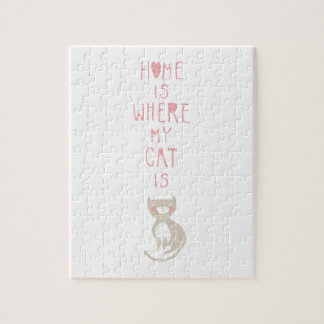 """""""Home is where my cat is"""" Jigsaw Puzzles"""