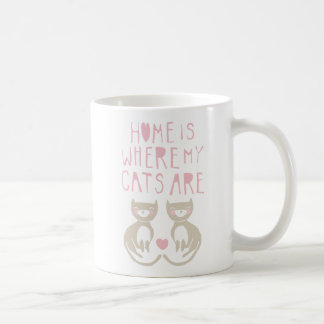 Home Is Where My Cats Are - brown kitty design Classic White Coffee Mug
