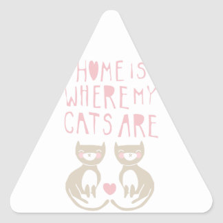 Home Is Where My Cats Are - brown kitty design Stickers