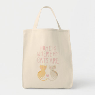 Home Is Where My Cats Are Grocery Tote Bag