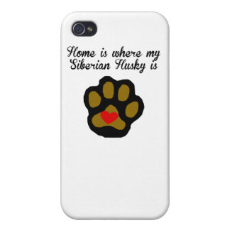 Home Is Where My Siberian Husky Is iPhone 4 Cases