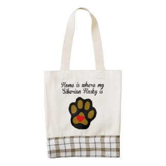 Home Is Where My Siberian Husky Is Zazzle HEART Tote Bag