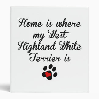 Home Is Where My West Highland White Terrier Is Vinyl Binder