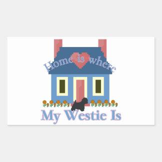 Home is Where My Westie Is Rectangular Sticker