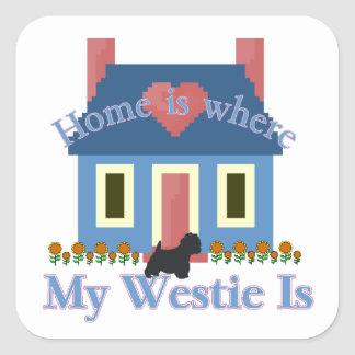 Home is Where My Westie Is Square Sticker