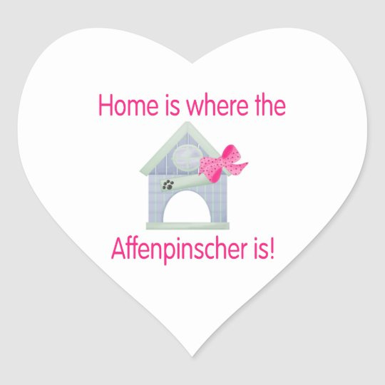 Home is where the Affenpinscher is (pink) Heart Sticker