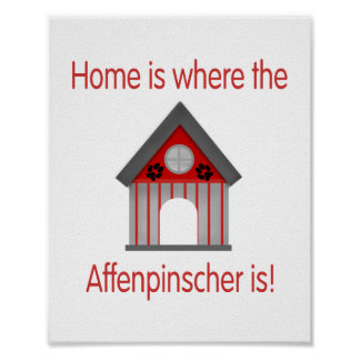 Home is where the Affenpinscher is (red) Poster