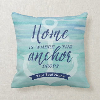 Home is Where the Anchor Drops - (Aqua green/Navy) Throw Pillow