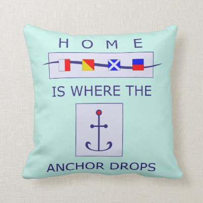 nautical kitchen utensils home is where the anchor drops nautical quote throw pillow