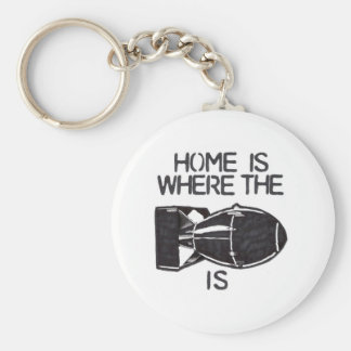 """""""Home is Where the Bomb is"""" Basic Round Button Keychain"""