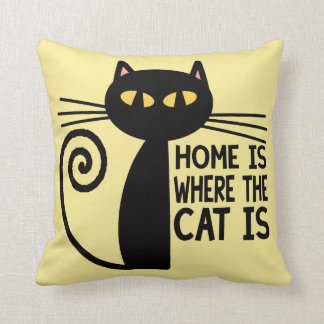 Home Is Where The Cat Is (beige) Throw Pillow