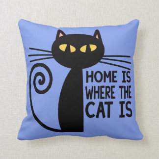 Home Is Where The Cat Is (blue) Throw Pillow