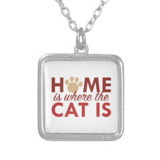 Home Is Where The Cat Is Silver Plated Necklace