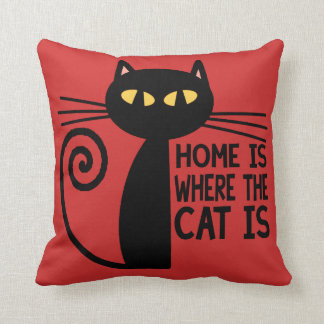 Home Is Where The Cat Is (wine-red) Throw Pillow