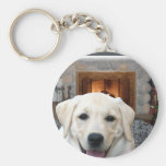 Home is where the dog is basic round button keychain