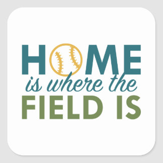 Home Is Where The Field Is Square Sticker