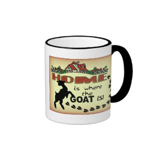 HOME IS WHERE THE GOAT IS RINGER COFFEE MUG