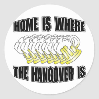 Home is Where the Hangover is! Classic Round Sticker