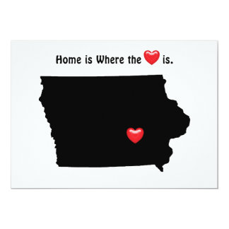 Home is Where the Heart IOWA 5x7 Paper Invitation Card