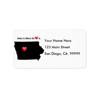 Home is Where the Heart IOWA Address Label