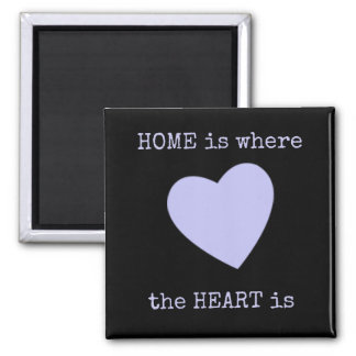 Home is where the heart is Black & Lilac Magnet