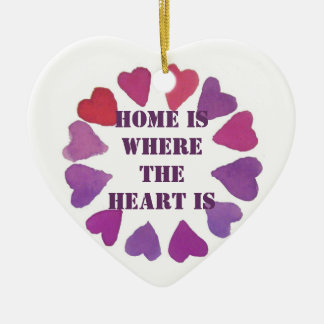 home is where the heart is heart pendent ceramic ornament