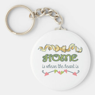HOME IS WHERE THE HEART IS BASIC ROUND BUTTON KEYCHAIN