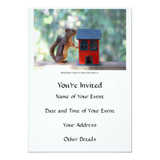 Home is Where the Heart Is Squirrel 5x7 Paper Invitation Card