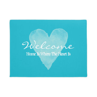 Home is where the heart is turquoise blue door mat