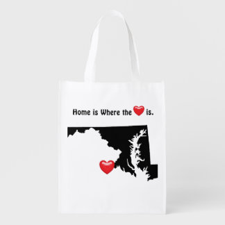 Home is Where the Heart MARYLAND Reusable Grocery Bag