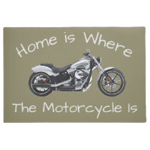 Home is Where the Motorcycle Is Door Welcome Mat