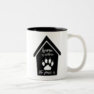Home is Where the Paw Is Dog Paw Two-Tone Coffee Mug