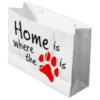 Home is where the paw print is large gift bag