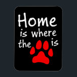 "Home is where the paw print is magnet<br><div class=""desc"">A wordplay with the quote &quot;Home is where the heart is&quot;,  this photo magnet has the words &quot;Home is where the [paw print picture] is&quot;,  with the paw print picture in red,  representing the &quot;heart&quot;. The perfect gift for pet lovers.</div>"