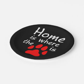 Home is where the paw print is paper plate