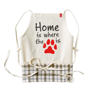 Home is where the paw print is zazzle HEART apron