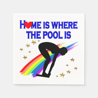 HOME IS WHERE THE POOL IS FOR THIS SWIMMER PAPER NAPKIN