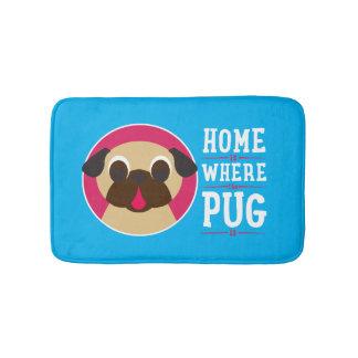 Home Is Where The Pug Is Bath Mat Ocean Blue